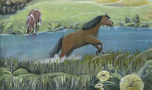 Horse crossing water